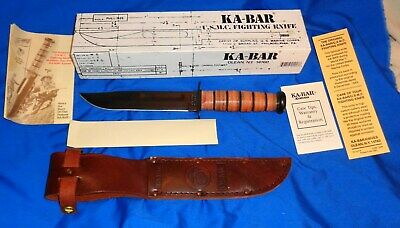 Vintage  USMC KA-BAR 1217 Marines Fighting Knife 1219C2-4 New In Box & Sheath !!