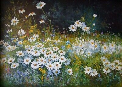 White Daisies Meadow Original Oil Painting Impasto Landscape Blue Flower Palette