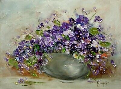 Violets Original Oil Painting Still Life Purple Flowers Impasto Palette Knife