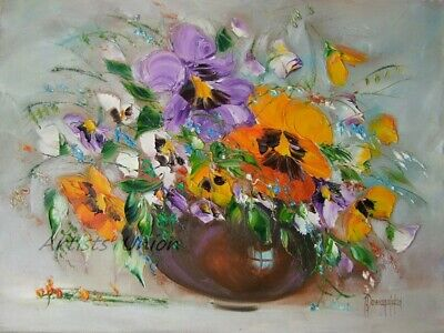 Still Life Wild Flowers Original Oil Painting Palette Knife Impasto Art Orange