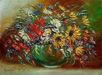 Autumn Bouquet Original Oil Painting Still Life Impasto Palette Knife Art Flower
