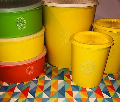 Lot ~ 6 Vintage Tupperware Canister Container 1339 809 811 1204 w Servalier Lids