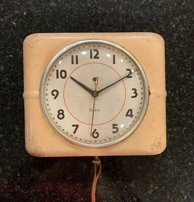 Vintage Westclox Metal Electric Wall Clock Farmhouse Rustic Shabby Chic Working