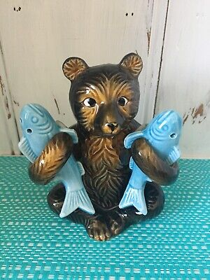 Bear Holding Fish Salt And Pepper Shakers With Toothpick Holder.