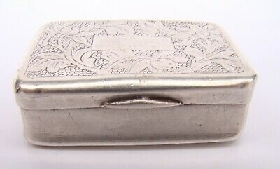 19th Century Chinese Canton Export Silver Snuff Box Signed VERY RARE