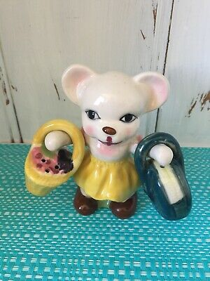 Bear with Hangers Basket And Bag Salt And Pepper Shakers.