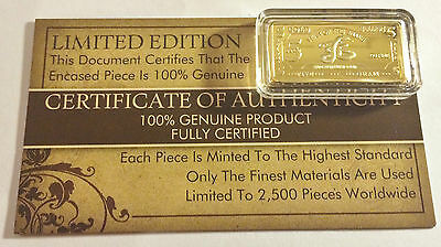 "NEW 5 Gram ""Year Of The Snake"" Certified Ingot Finished in 999 Fine 24 k Gold"