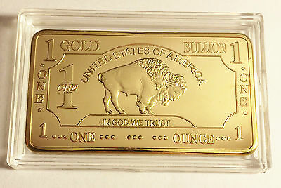 BUFFALO/BISON 1 Troy Oz Ingot Finished in 999 24k Gold, Great Gift, Clearance
