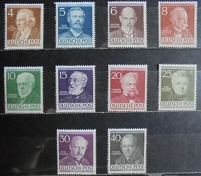 GERMANY (Berlin) 1952-53 Famous Berliners Complete Set of 10 m/h