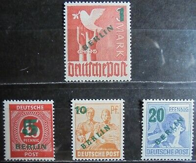 GERMANY (Berlin) 1949 Numeral & Pictorial Surcharged Set of 4 m/h