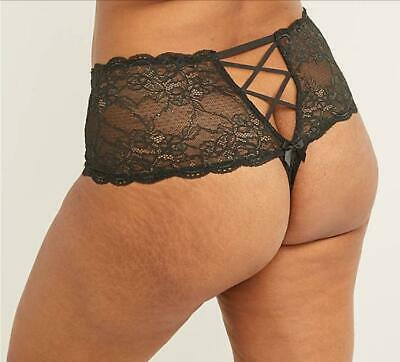 LB CACIQUE  Lace Wide-Side Thong Panty with Split Gusset - Black - 26/28