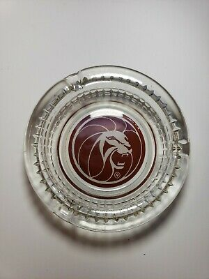 Vintage Ashtray MGM Grand Lion Head Round Clear Glass Red