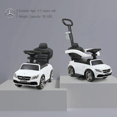 Mercedes-Benz Baby Kids Ride On Push Car Foot To Floor Stroller w/Handle White