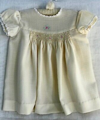 Vintage Baby Dress, Hand-Embroidery, Smocking, Crochet, Cream Wool-Cotton Mix