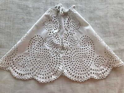 Antique Victorian Baby Cape, Needlework Broderie Anglaise, Paisley, Cotton