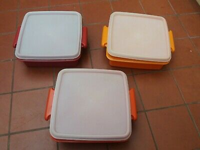 Vintage Tupperware Lunch Quartet Box Keeper Containers x 3
