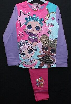 Girls LOL SURPRISE Pyjamas LOL Surprise Dolls Lilac/Pink PJs 4-10 y + FREE GIFT!