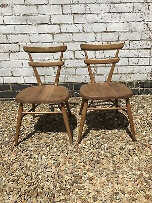 Pair Of Vintage Mid Century 1960s Ercol Red Dot Stacking School Chairs