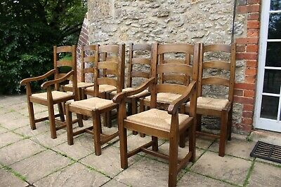 8 Rare Vintage French Solid Elm Ladder Back Farmhouse Chairs inc 2 Carvers