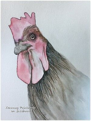 Chicken Rooster Signed Original One Off Watercolour Unframed One Off Artwork A5