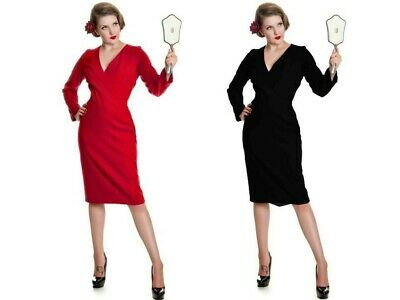 brand new collectif art deco dress 50s style heavy red pencil wiggle 12 (g)