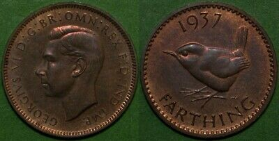 Farthing : 1937 : George VI : Wren ¼d Coin : EF to aUNC