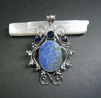 Natural, Lapis Lazuli and Tanzanite Gemstone Pendant - 925 Stamped