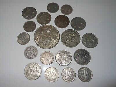19 Australian coins 1966 fifty cent shilling Sixpence threepence silver lot bulk