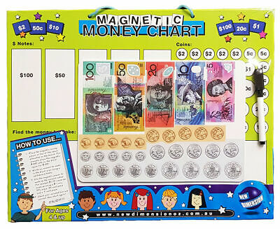 Australian Play Money Coins Notes Educational Kids Toys w Magnetic Erase Board