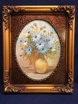 VINTAGE  hand painted original acrylic PAINTING blue daisies~signed reduced