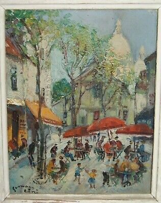 French art antique Impressionist naive oil painting Pissarro Moret style