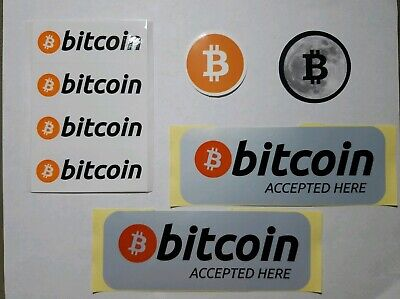 """'Bitcoin Accepted Here' 5.7"""" x 2"""" weather proof + Bitcoin Stickers Package"""