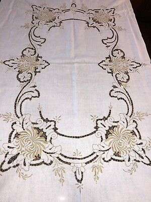Vintage Antique Hand Embroidered Cutwork Bobbin Lace Linen Tablecloth 77x58 Inch