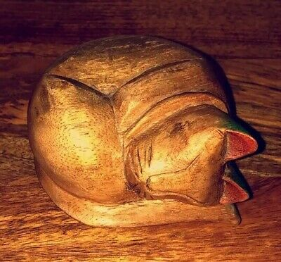 Vintage Antique Wooden Sleeping Cat Kitten 19th Century Carved Folk Shaker Rare!