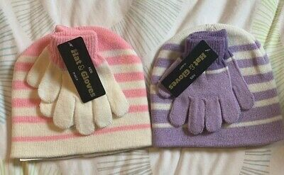 Two Sets Of Girls Beanie Hats And Gloves, Pink/Purple And White, Stretch Stripes