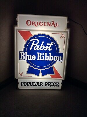 Vintage PABST BLUE RIBBON BEER Popular Price Light Sign Double Sided WORKS GREAT