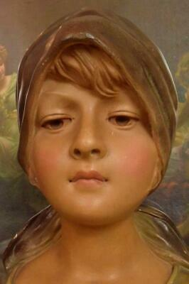 Sublime Antique French Plaster Bust, Country Maiden, Au Village, C1900 - B899