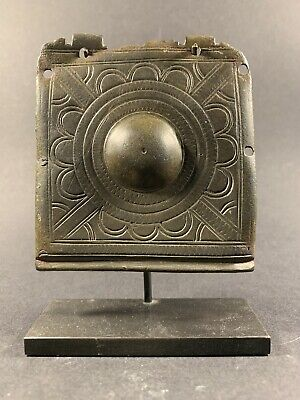 Lovely Ancient Roman Bronze Casket Mount With Display Stand Circa 100-200 Ad
