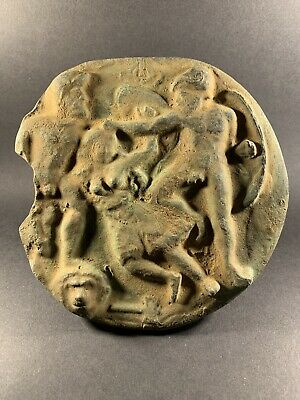 Rare Ancient Roman Bronze Relief Plaque Depicting Erotic Scene Circa 200-300Ad