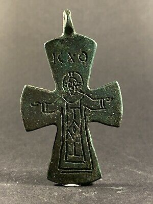 Very Rare Ancient Roman Bronze Virgin Mary Cross Pendant Amulet Circa 150-250Ad
