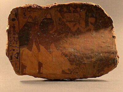 Circa 700-332Bc Ancient Egyptian Tablet Fragment Showing Offerings & Hieroglyphs