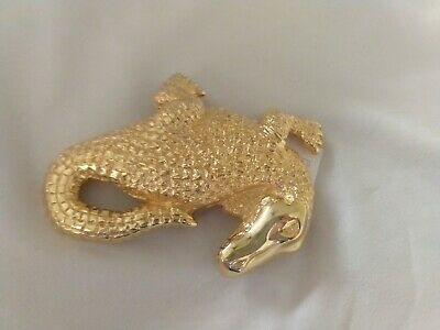Vintage Dotty Smith Gold Alligator or Crocodile Creature Couture Belt Buckle New