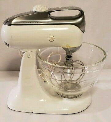 Kitchenaid White Vintage Stand Mixer Model 4c Hobart 4 C With Beater Glass Bowl