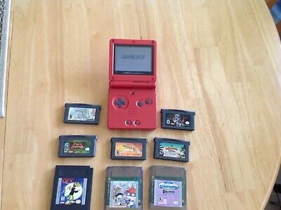 Lot Bundle Nintendo Game Boy Advance SP Red Flame Handheld System 8 Games