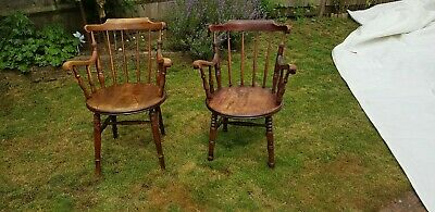 Vintage/antique near pair of wooden chairs with large circular seat