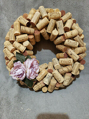 Hand crafted wine cork wreath 13 in. with lavender flowers