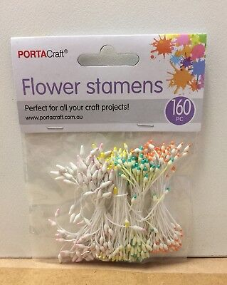 NEW - FLOWER STAMENS -160 Pack - PINK/GREEN/YELLOW/PURPLE