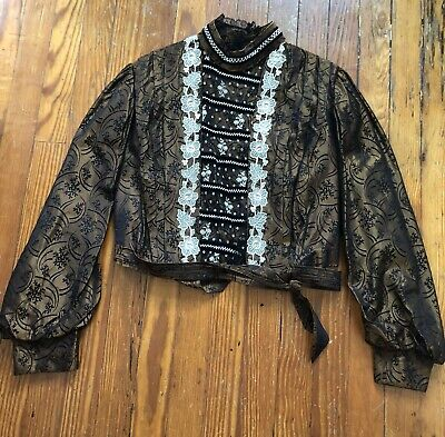 Antique Edwardian Victorian Silk & Lace Embroidered Blouse Bodice