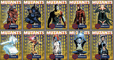 Topps Marvel Collect Card Trader Mutants Yellow Set of 9 with Magento Award