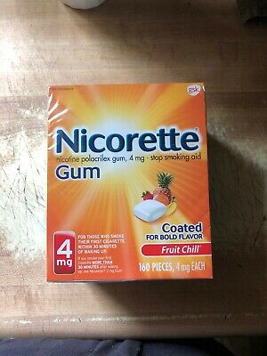 Nicorette Nicotine Gum Fruit Chill 4 MG Stop Smoking Aid - 160 Count